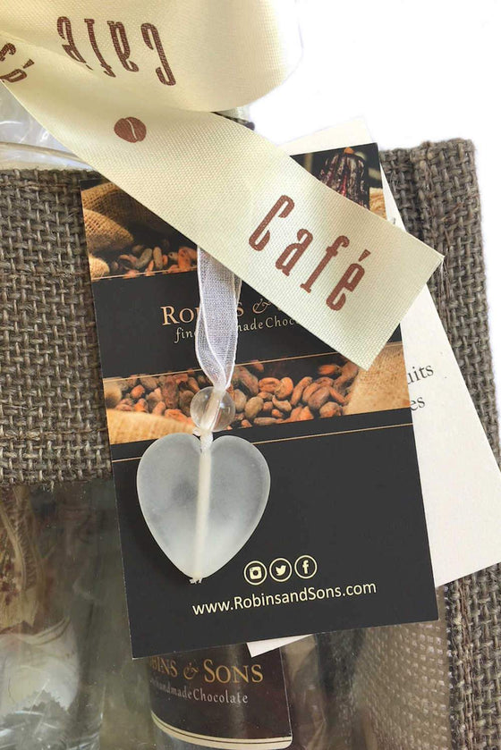 coffee gift set with mug heart shape bag charm