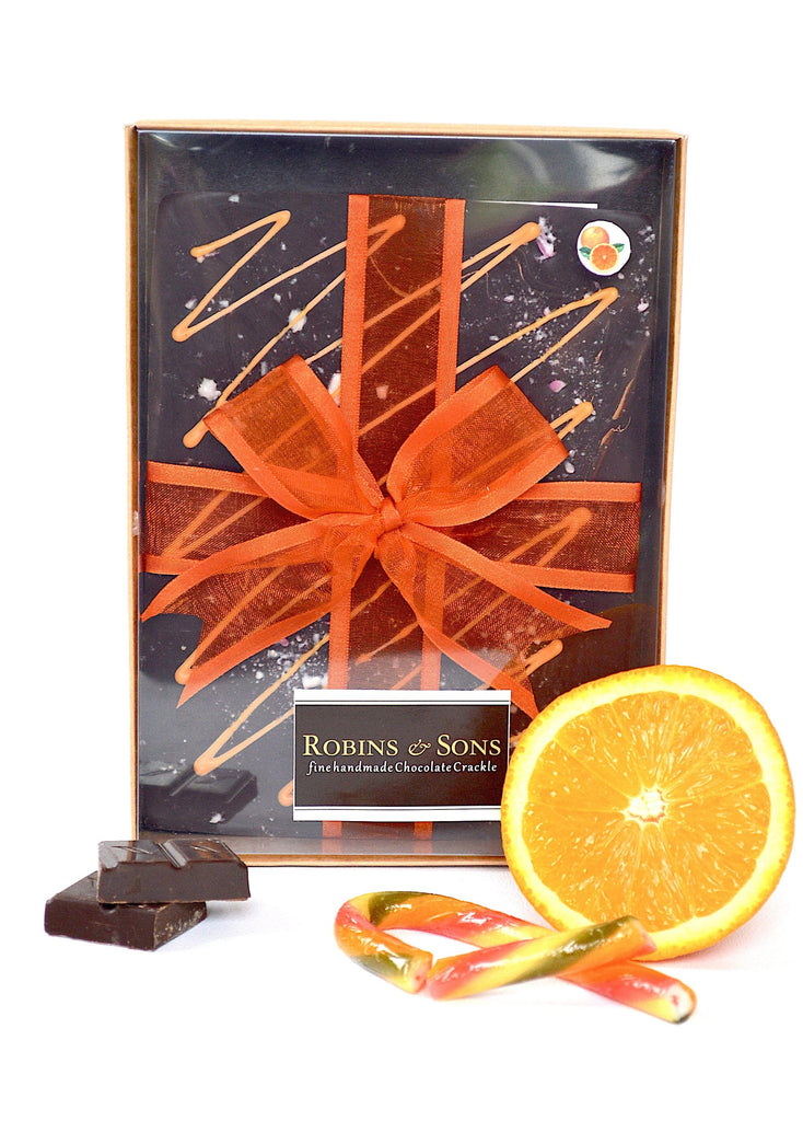 Large Gift Box - Dark orange chocolate gift bar with natural orange oil extract