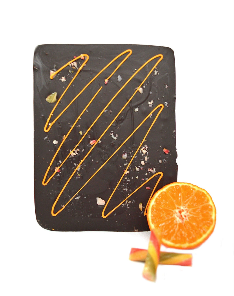 luxury dark chocolate orange bar with natural colours and natural flavours UK
