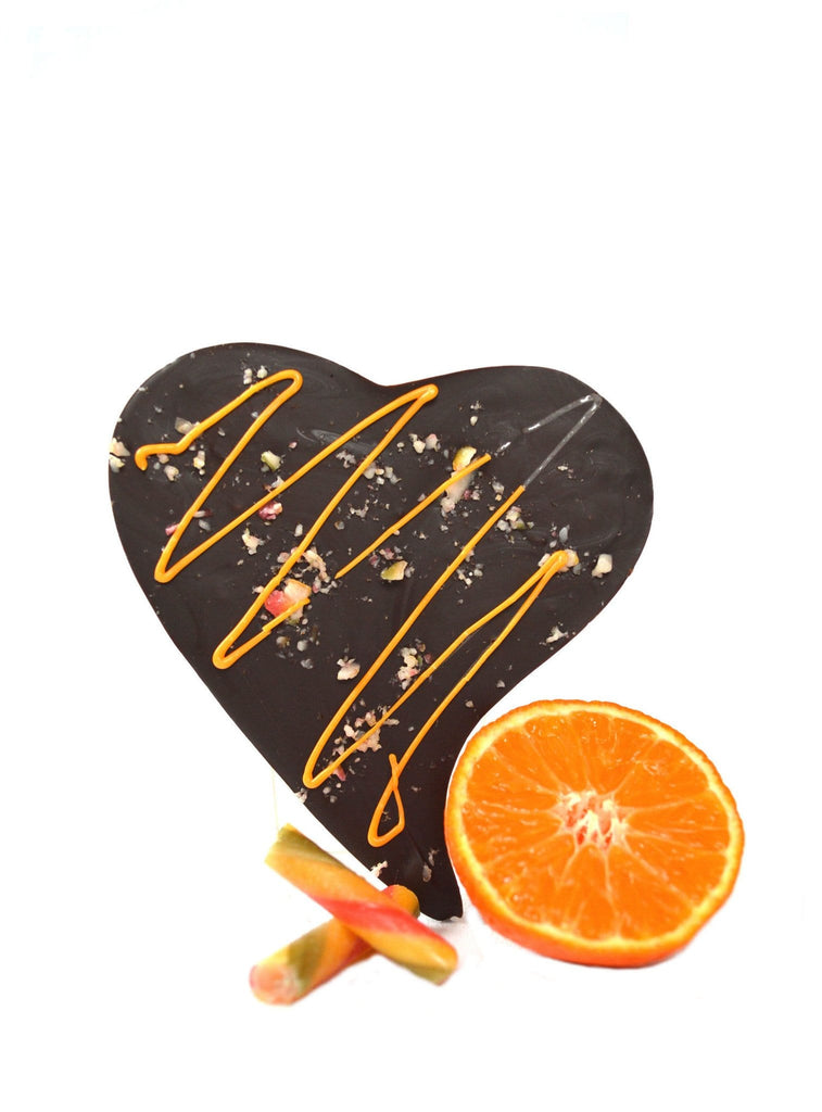 luxury Orange Dark Chocolate Crackle heart shape bar valentine