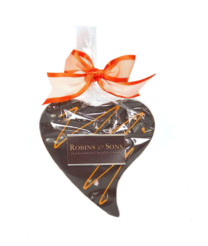 luxury 70% dark chocolate heart shape bar with natural orange oil