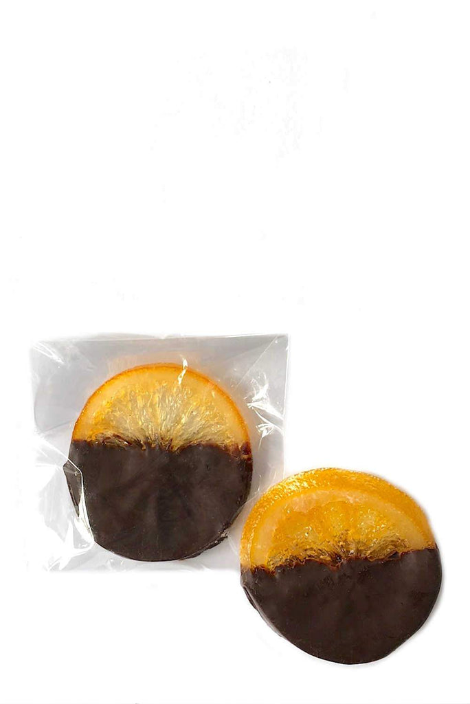 Individual luxury dark chocolate covered orange slices peel