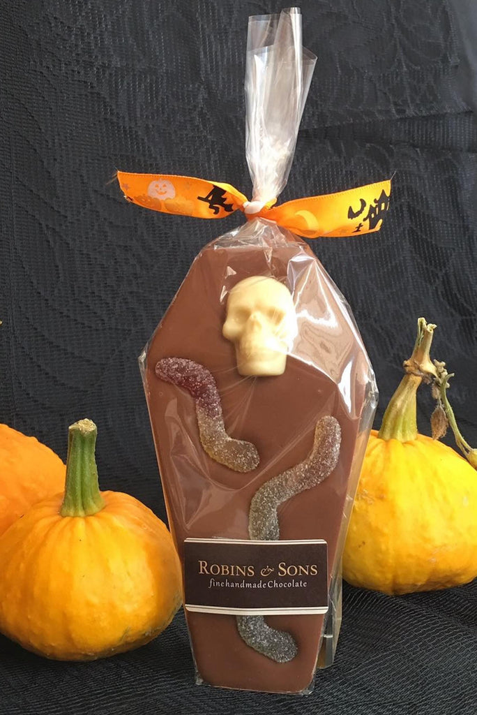 Belgian milk chocolate Halloween coffin with skull and jelly worms