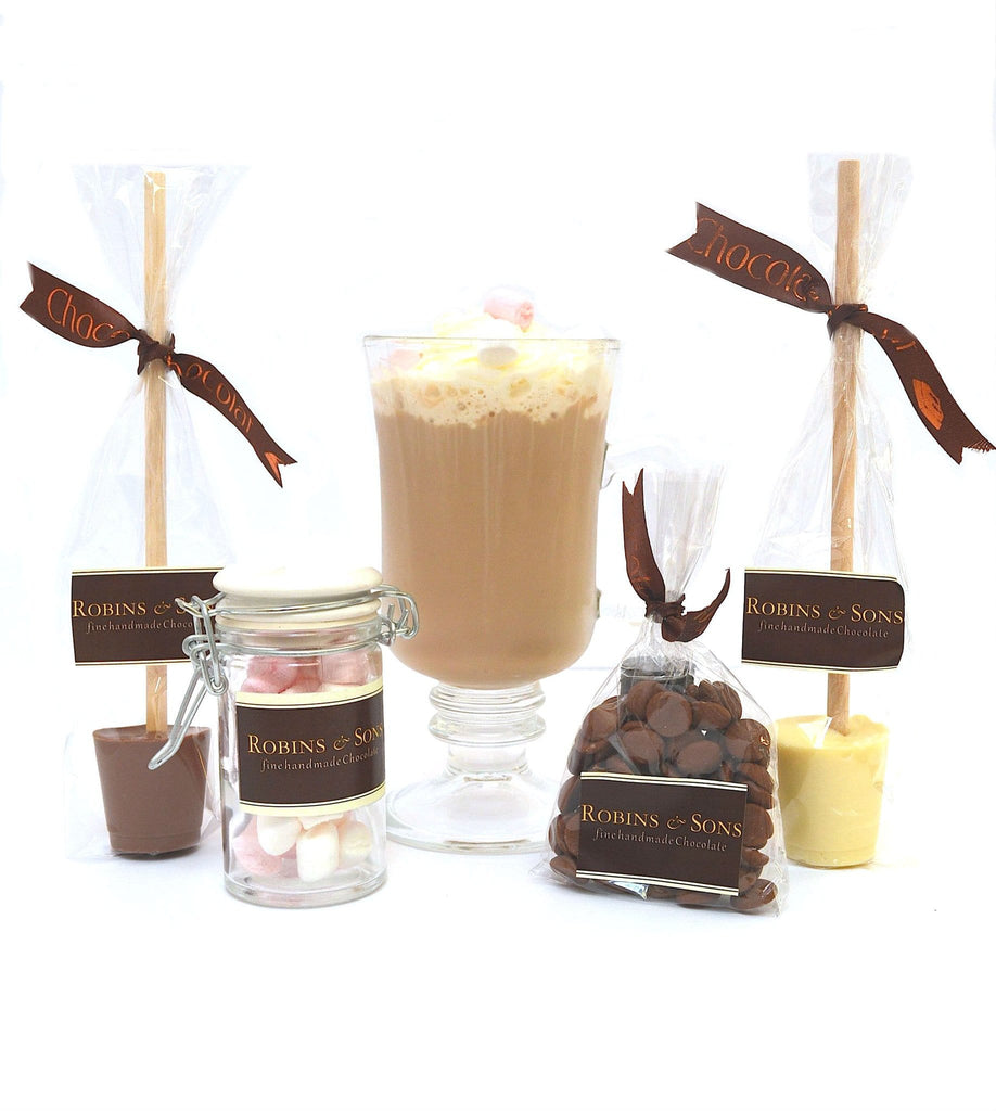 Luxury Belgian Hot chocolate gift bag contents - glass mug, hot chocolate stirrers, marshmallows, belgian chocolate hearts