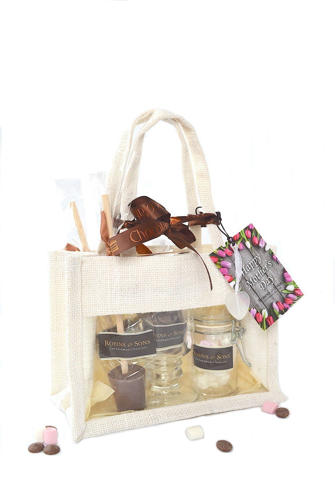 Luxury Hot Chocolate Mother's Day Gift Bag with mug, stirrers, chocolate hearts and marshmallows