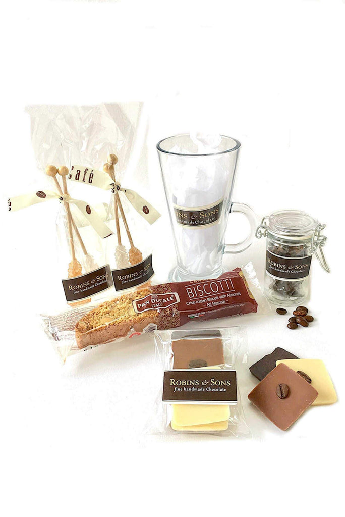 Luxury Belgian chocolate and coffee lovers gift set with mug contents