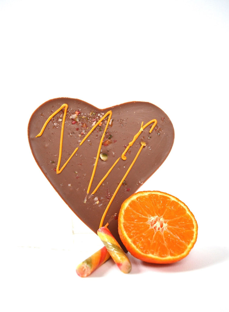 Belgian heart shaped milk chocolate bar with Valencian orange oil