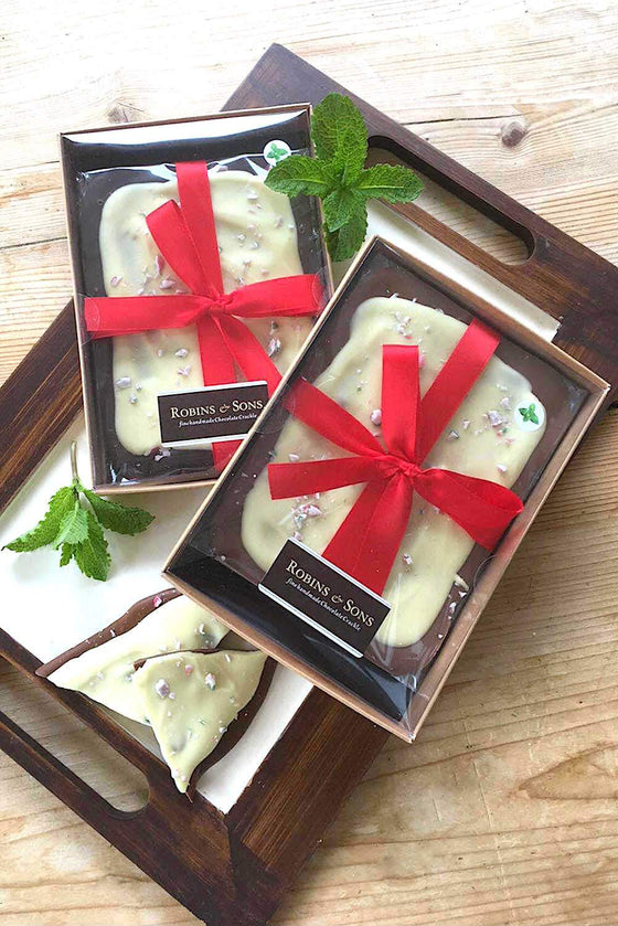 luxury peppermint bark milk and white chocolate with peppermint candy cane UK