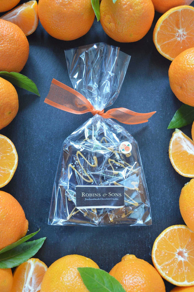 Luxury dark chocolate orange individually wrapped squares in gift bag