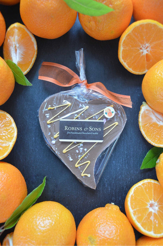luxury Orange Milk Chocolate heart shape bar with natural orange oil