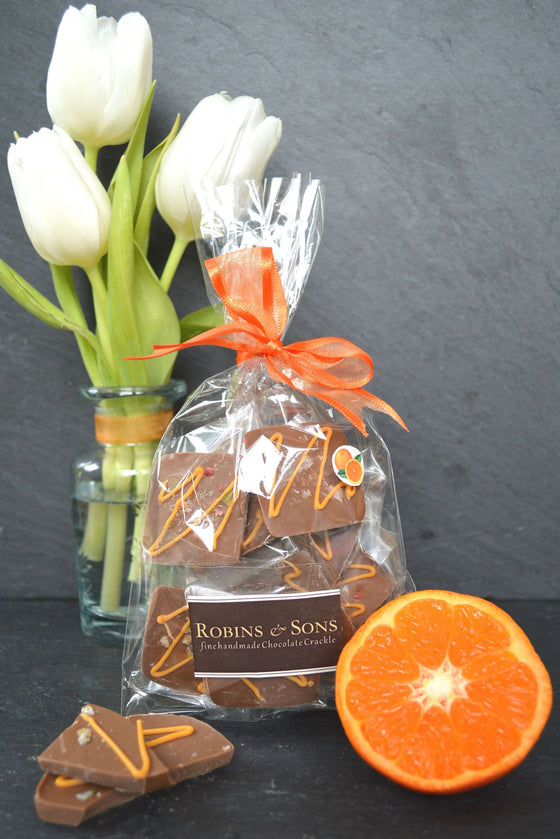 Luxury individually wrapped milk chocolate orange squares in gift bag