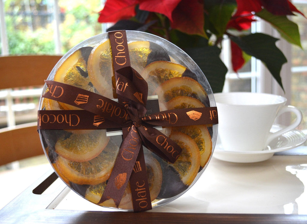 luxury corporate 70% Belgian dark chocolate coated orange slices