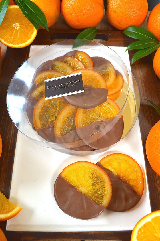 luxury online Belgian milk chocolate covered whole orange slices gift corporate