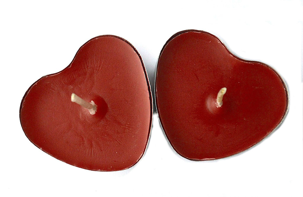 Red heart shaped candle tea lights votives