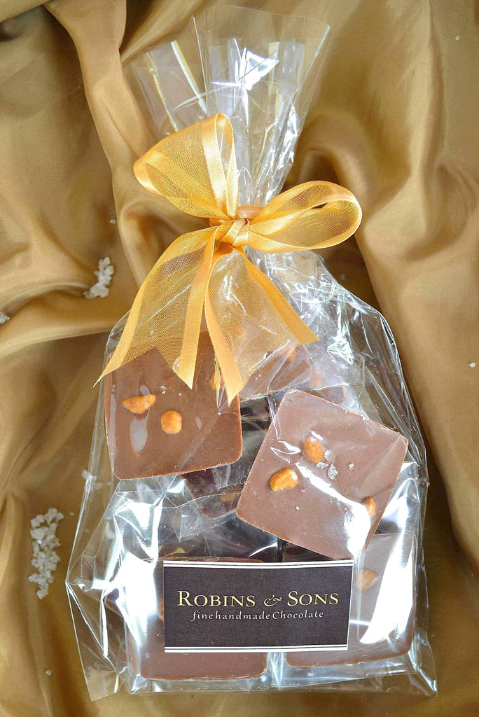 Belgian milk chocolate squares with salted caramel chips and sea salt