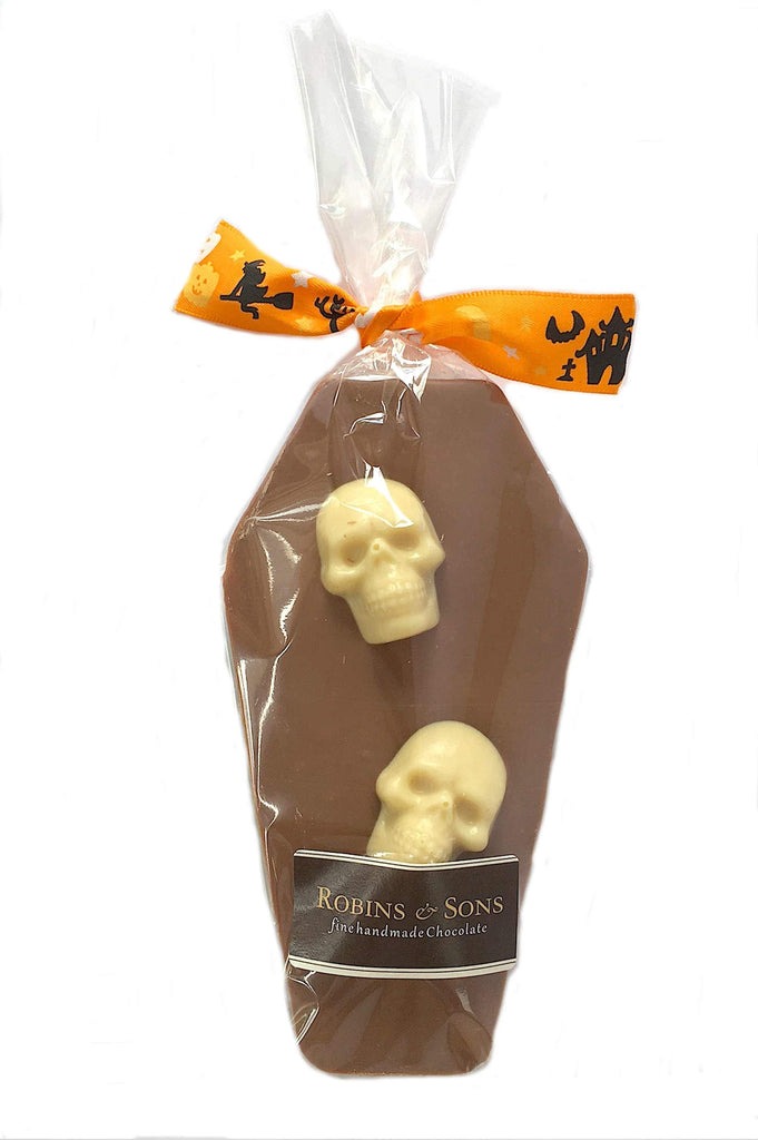 Kids Novelty Halloween milk chocolate coffin bar with white chocolate skulls