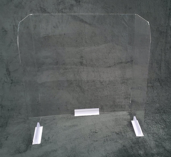 Clear sneeze guard barrier with mounting clips front view