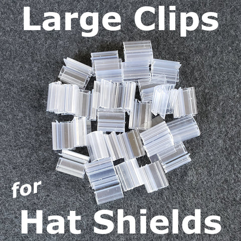 "Hat Face shield replacment clips - large size - hat bills 1/8"" to 1/4"" thick"