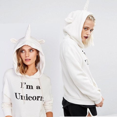 Women's Fashion Casual Tops Unicorn Printed Hooded Hoodies