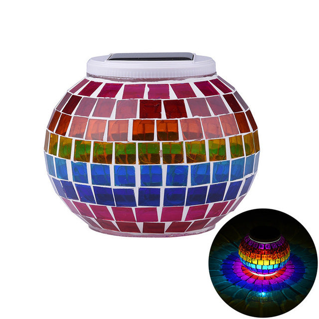 Mosaic Glass Ball Solar Garden Lights