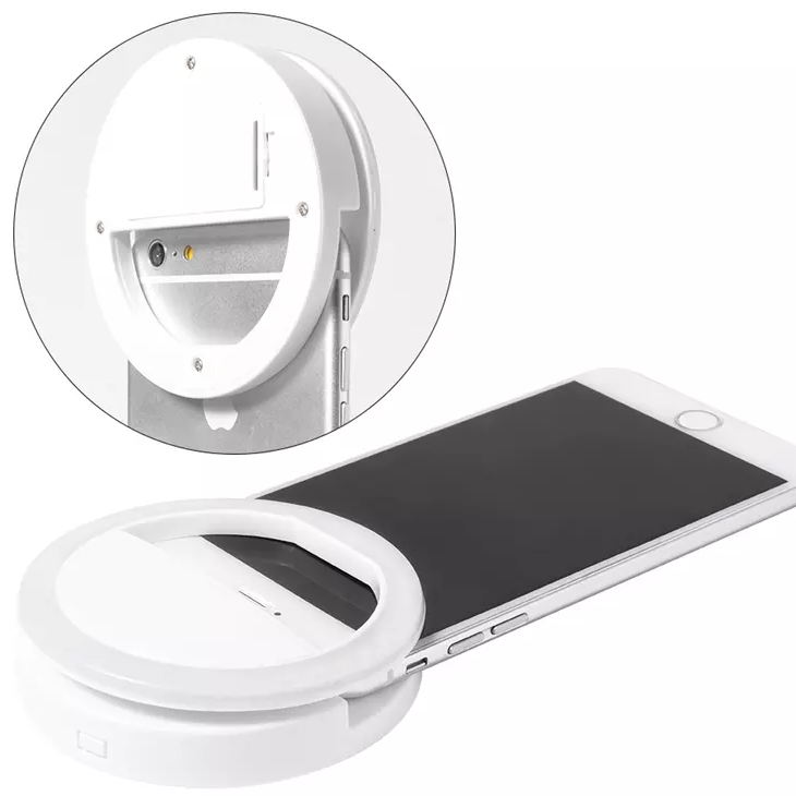 Rechargeable LED Selfie Light with 3 Brightness Settings - Easily Clips to most Smart Phones
