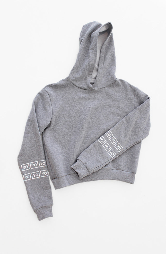 EVA CROP HOODIE 1 - YO COLLECTION - GREY