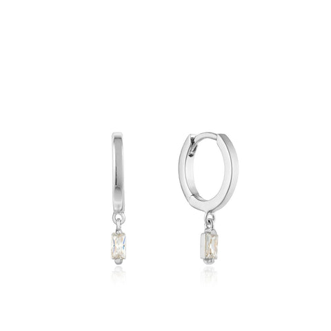 Oorbellen Ania Haie GLOW HUGGIE HOOPS EARRINGS SILVER
