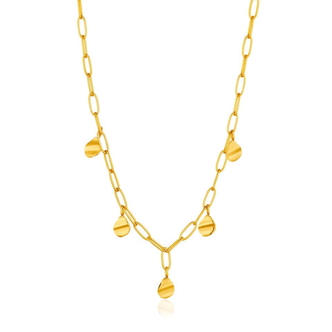Halsketting Ania Haie GOLD CRUSH DROP DISC NECKLACE