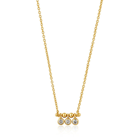 Halsketting Ania Haie GOLD SHIMMER TRIPLE STUD Necklace