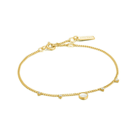 Armband Ania Haie HIDDEN GEM MOTHER OF PEARL DROP DISC BRACELET GOLD