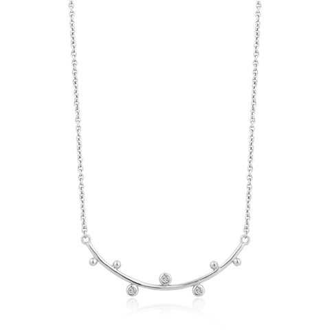 Halsketting Ania Haie SILVER SHIMMER SOLID BAR STUD Necklace