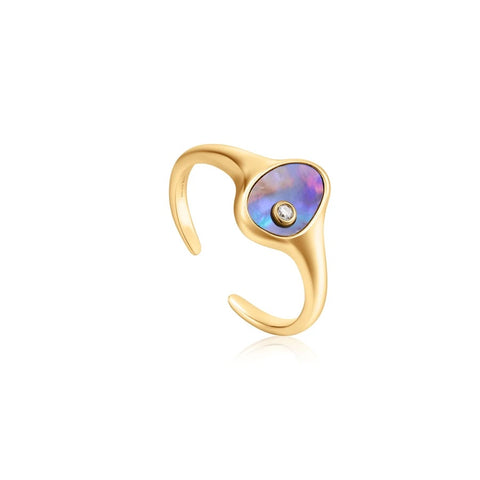 Ring Ania Haie Gold Tidal Abalone Adjustable Signet Ring
