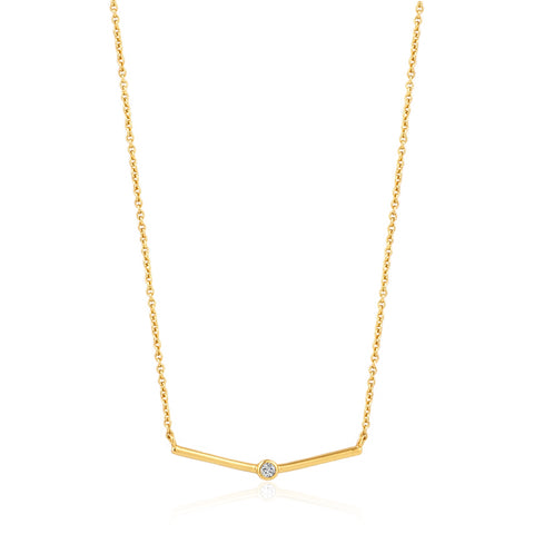 Halsketting Ania Haie Gold Shimmer Single Stud Necklace
