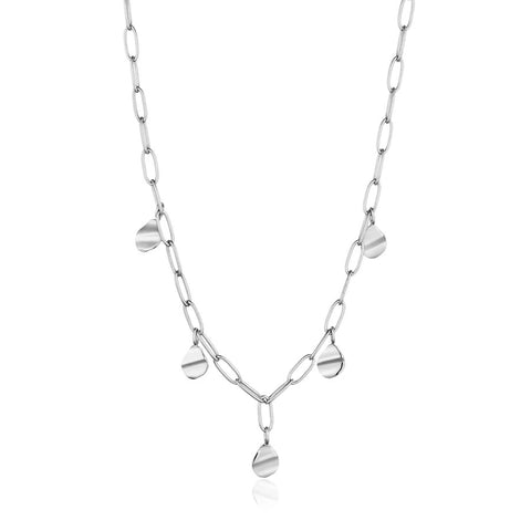 Halsketting Ania Haie SILVER CRUSH DROP DISC NECKLACE