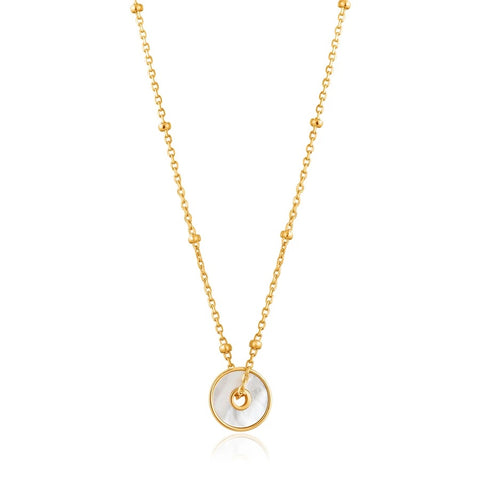 Halsketting Ania Haie Gold Mother Of Pearl Disc Necklace
