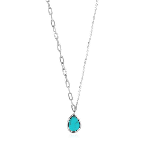 Halsketting Ania Haie Silver Tidal Turquoise Mixed Link Necklace