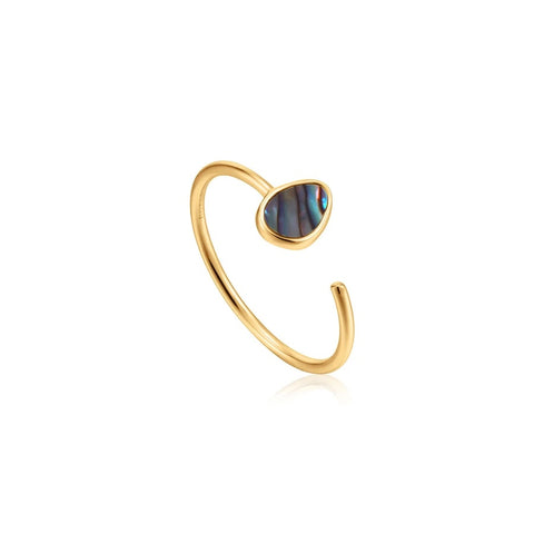 Ring Ania Haie Gold Tidal Abalone Adjustable Ring