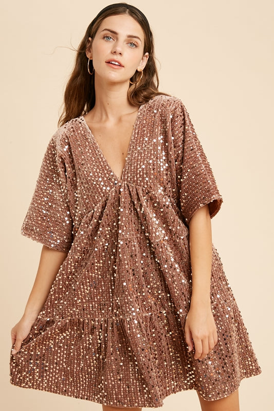 Sequin Velvet Ruffle Trim Dress