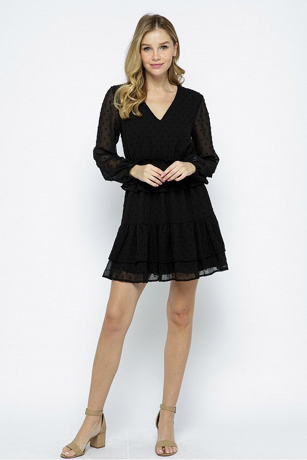 Smock Waist Ruffle Dot Dress