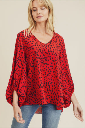 Plus Spotted Drape Bubble Sleeve Top