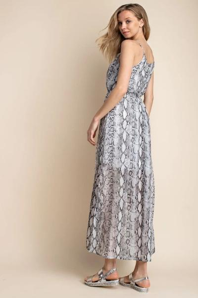 Snake Pattern Sleeveless Maxi Dress