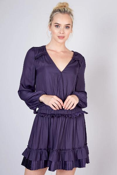 Long Sleeve Pleated Detail Dress - Free Souls Boutique