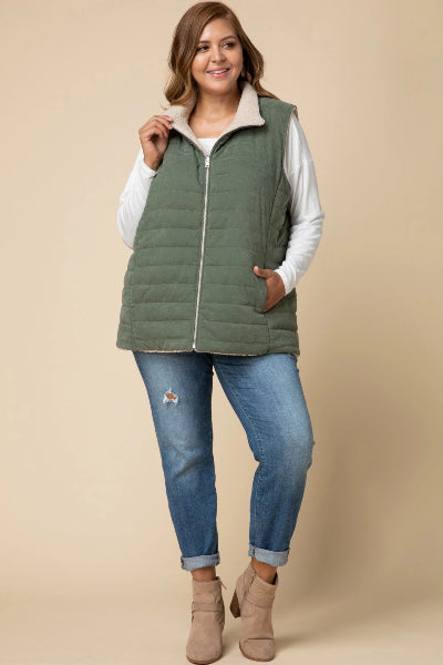 Plus Reversible Puffer Shearling Vest - Free Souls Boutique