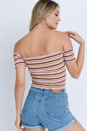 Ribbed Off Shoulder Top - Free Souls Boutique