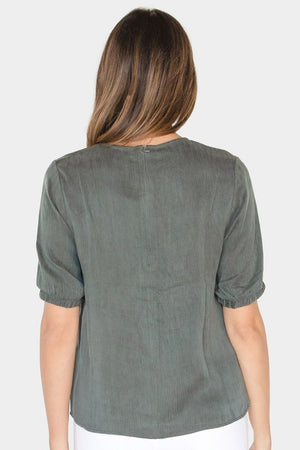 Zipper Back Soft Wash Top