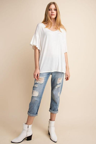 Ruffle Sleeve V-Neck Bamboo Top - Free Souls Boutique