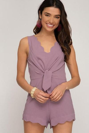 Scalloped Front Tie Romper - Free Souls Boutique