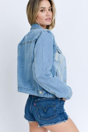 Distressed Denim Jacket - Free Souls Boutique