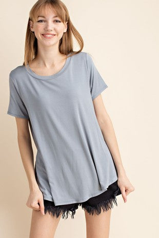 Plus Banded Neck SS Top - Free Souls Boutique