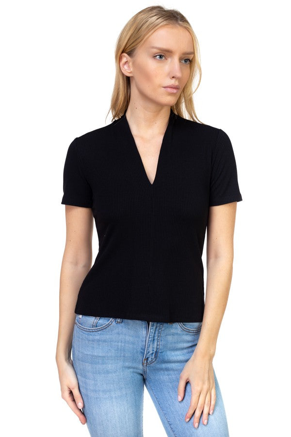 Ribbed VNeck Top - Free Souls Boutique